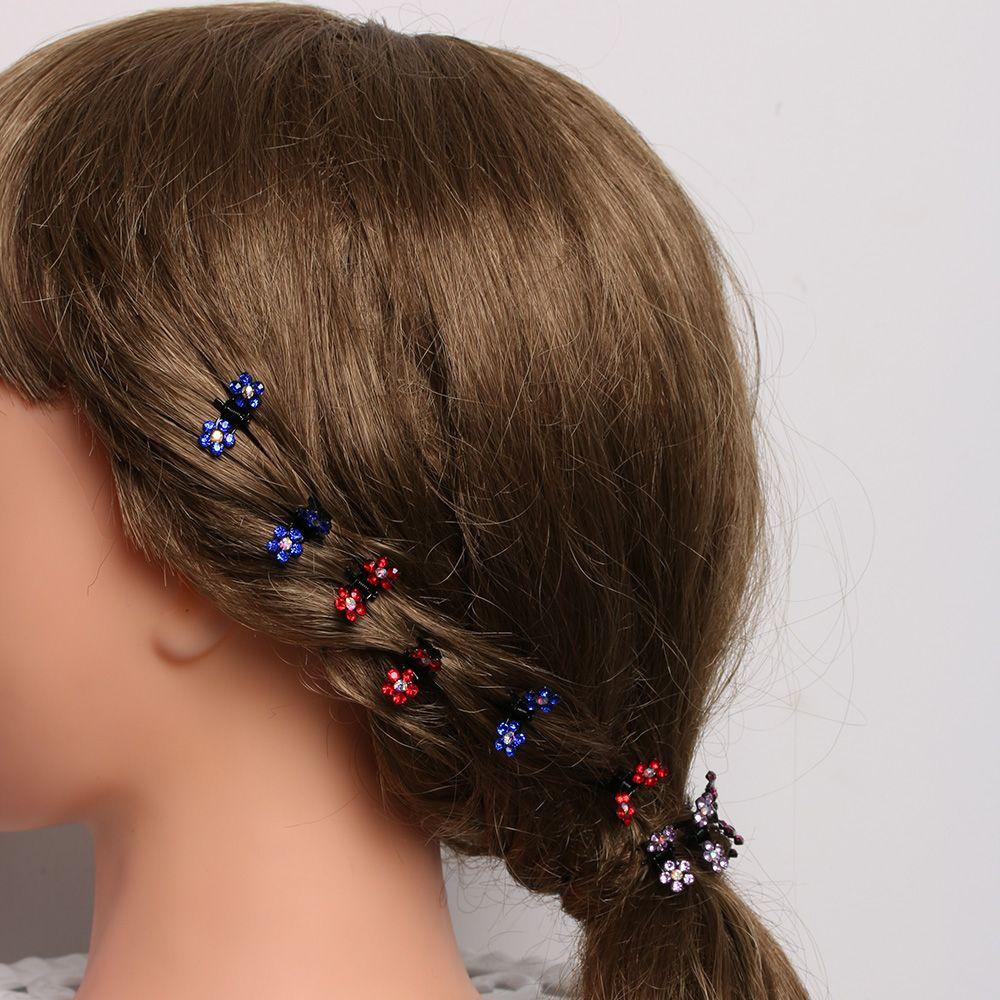 12 PCS Baby Girl lady Crystal Flower Mini Hair Claw Clamp Hair Clip Hair Pin Top