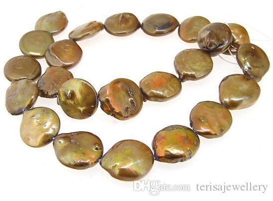 Münze Süßwasser Perle Zuchtperlen Kaffee Perlen 14-15mm Loos eBeads Ein Voller Strang 15 zoll