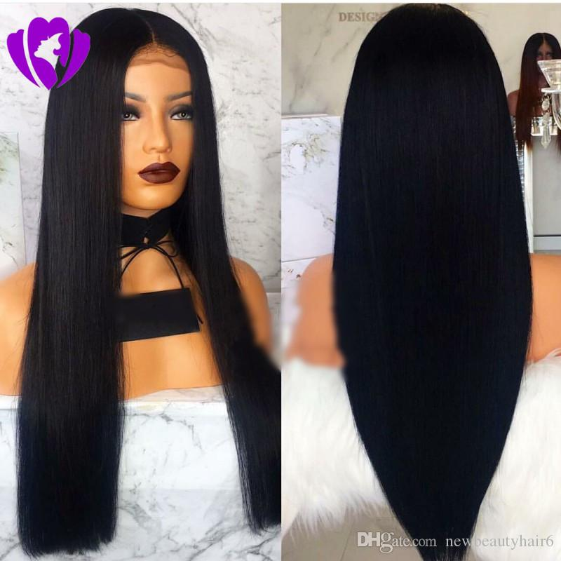 30inches Long Black Wig Hetero sintética rendas frente Wigs por Mulheres Natural Color / sintética cor ombre peruca fio natural