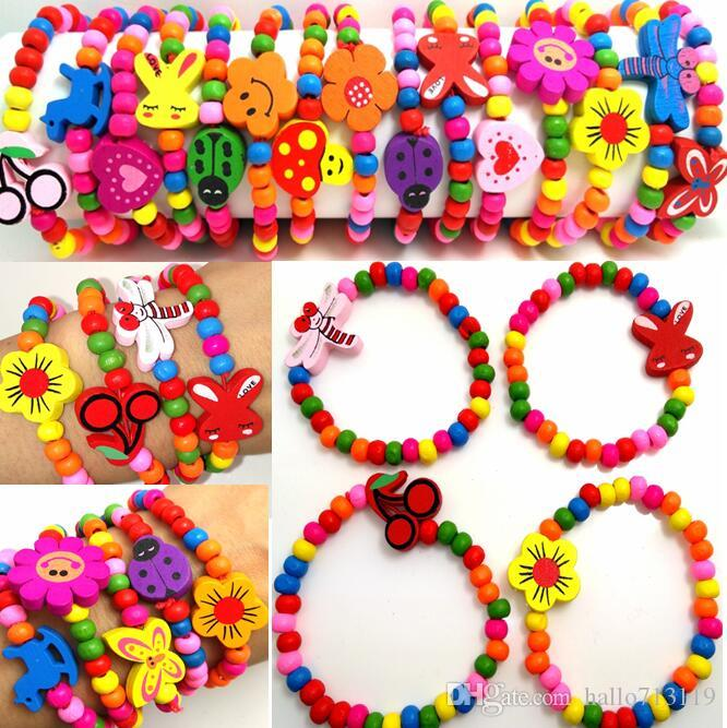 100pcs Girls Natural Wood Beads Bracelet 12 Styles Mix Children Wooden Wristbands Child Party Bag Fillers Birthday Gift Wholesale Jewelry
