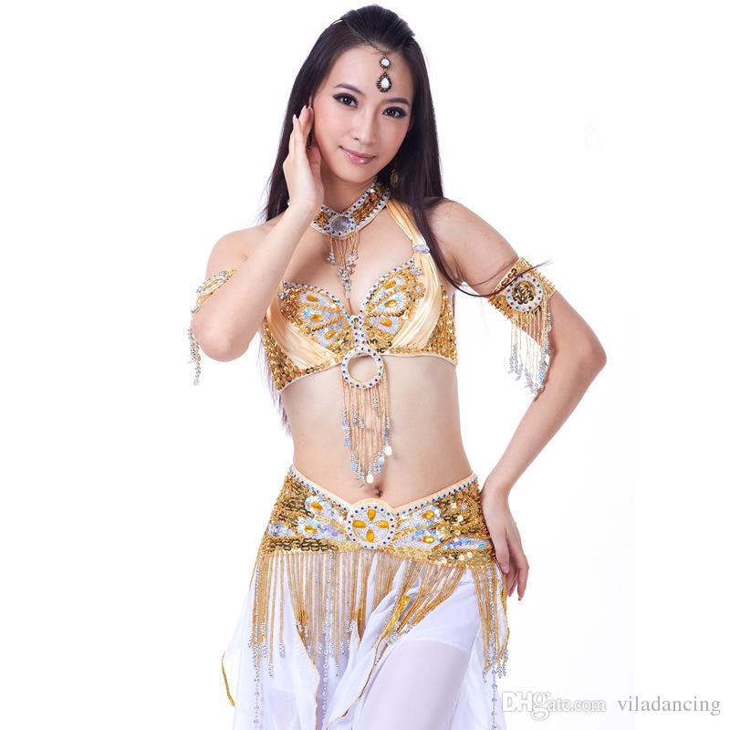 Nueva llegada Ropa de danza del vientre profesional Trajes de danza oriental 6 piezas Conjunto de traje de danza del vientre para mujeres
