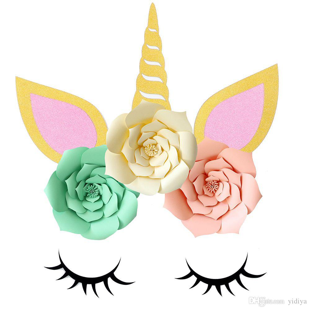 DIY Unicorn Theme Party Decor Sets Artificial Rose Flowers Eyelash Cumpleaños Decoraciones de la boda Baby Shower Decoración de la pared Pegatinas
