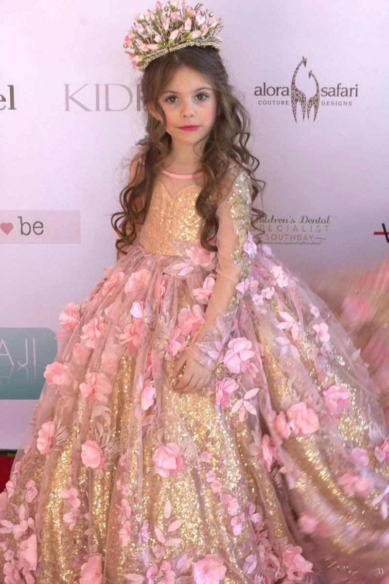 Compre Vestido Dorado Para Niñas Vestidos Con Lentejuelas Vestido De Fiesta Con Lentejuelas Manga Larga Vestido De Niña De Flores Longitud Del Piso