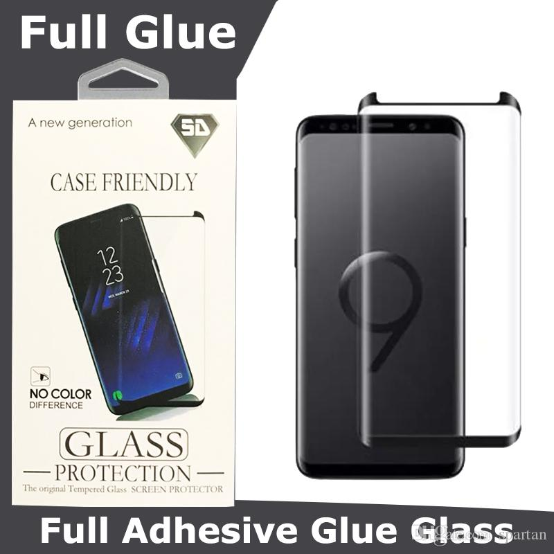 For Samsung Galaxy S10 S10 Plus Note 10 Full Glue Case Friendly Tempered Glass Full Adhesive Screen Protector 3D Curved With Retail package