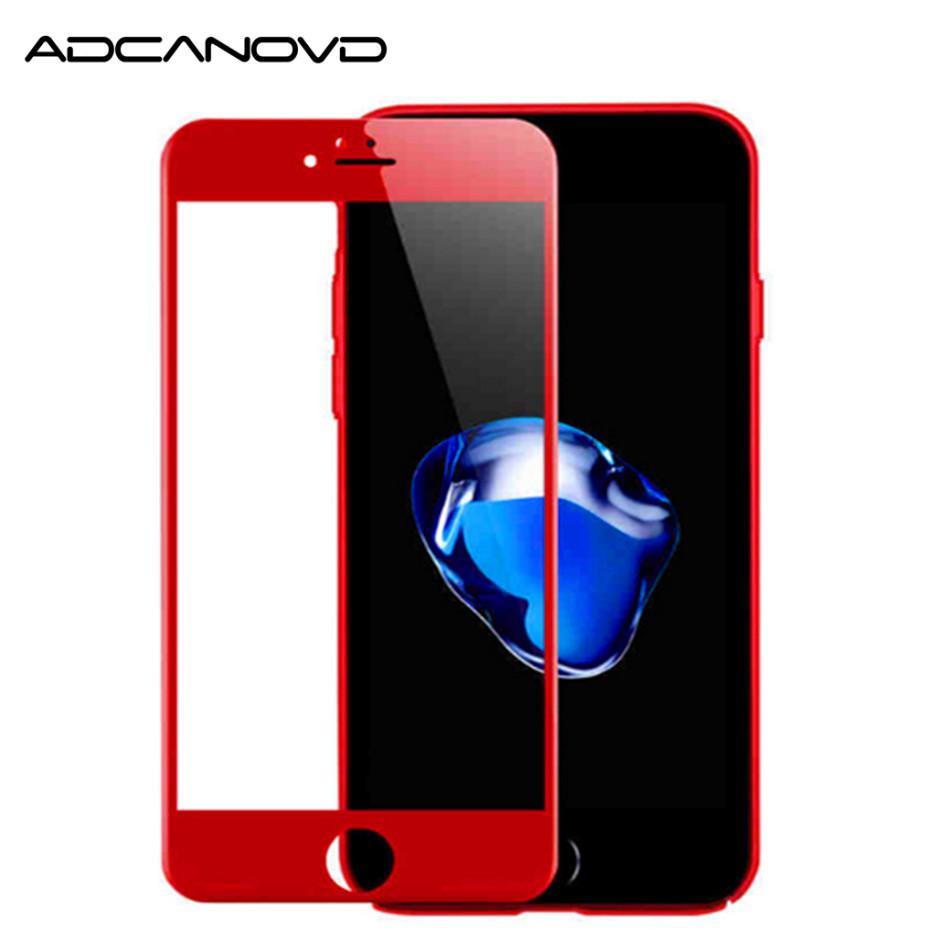 2 UNIDS 3D protector de la cubierta completa para iphone 7 7 plus protector de pantalla de fibra de carbono brillante rojo vidrio templado en 6 6s 7 7 más
