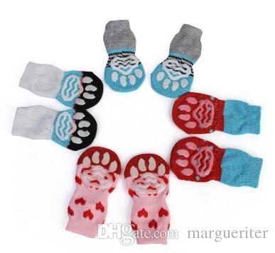 Pet Dog Cat Warm Socks Anti Slip Dog Cat Knit Socks Winter Cotton Puppy Dog Sock Apparel 4pcs Per Set