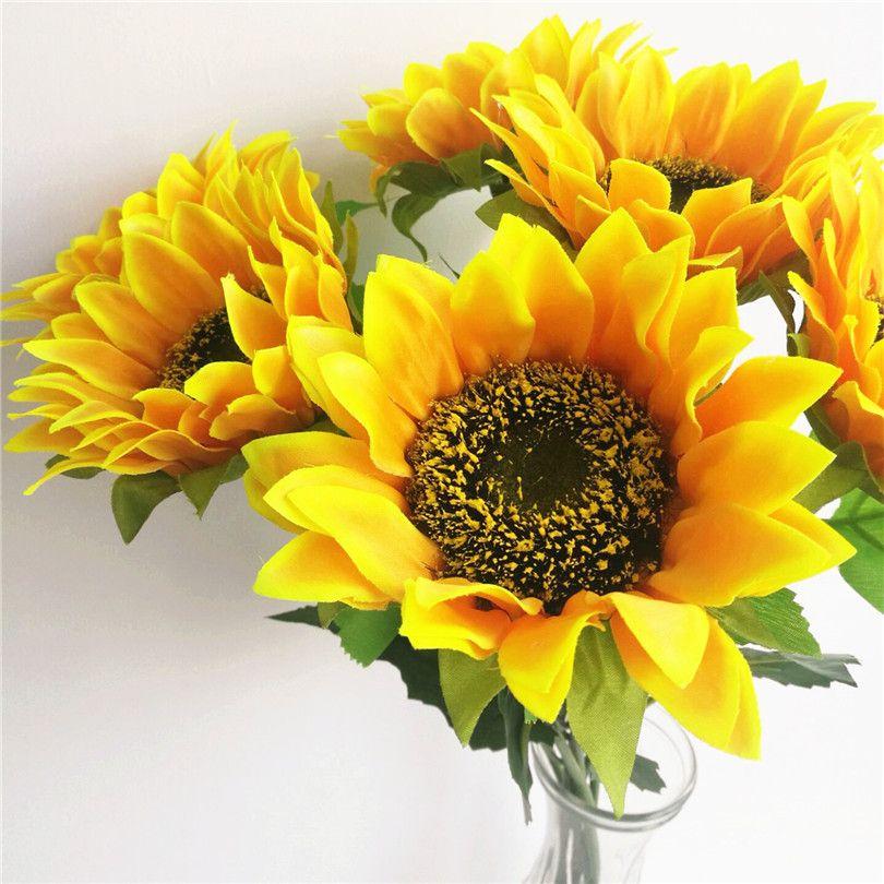 """Желтый подсолнух 62см / 24,41"""" Искусственные шелковых цветы Моделирование Single Sunflower для свадебной фотографии реквизит цветка рождественских украшений"""