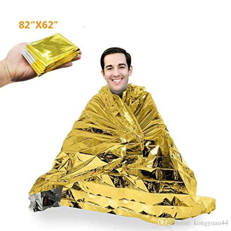 """84"""" X 62""""Extra Large Emergency Mylar Blanket -Gold/Silver Space Blanket: Designed for - Essentials for Outdoors, Hiking, Survival, Maratho"""