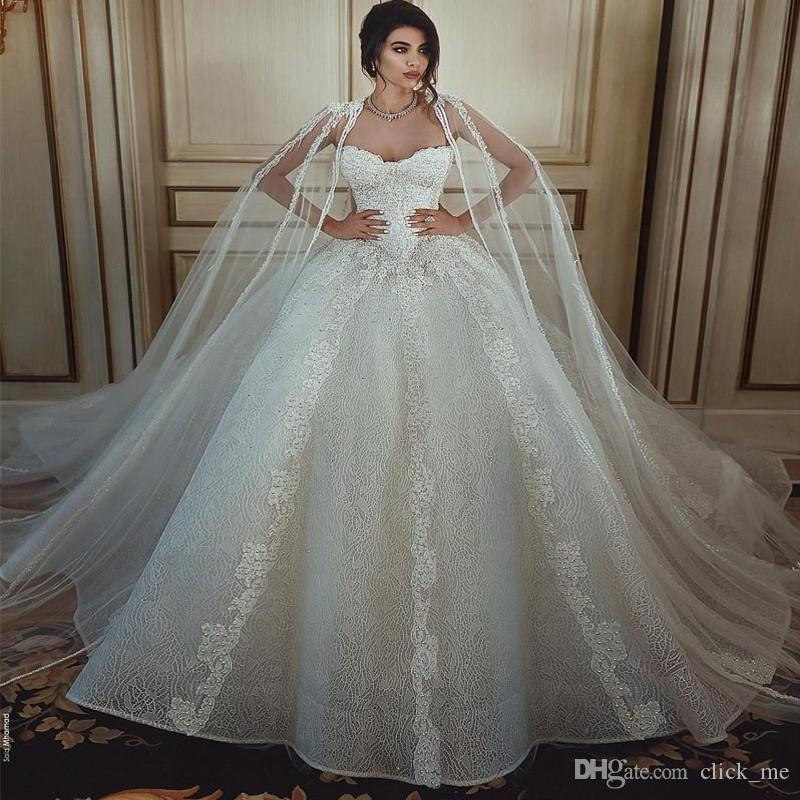 Said Mhamad 2018 Lace Wedding Dresses With Wrap/Jacket Sweetheart Appliques A Line Wedding Gowns Zipper Back Beach Bridal Dress Cheap