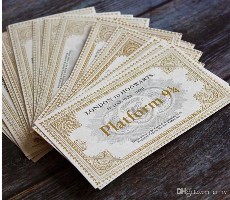 Мир Гарри Поттер Хогвартс Лондон экспресс билетов Хогвартс Экспресс билет на поезд Орнамент бумаги Игрушки для малышей Вентиляторы