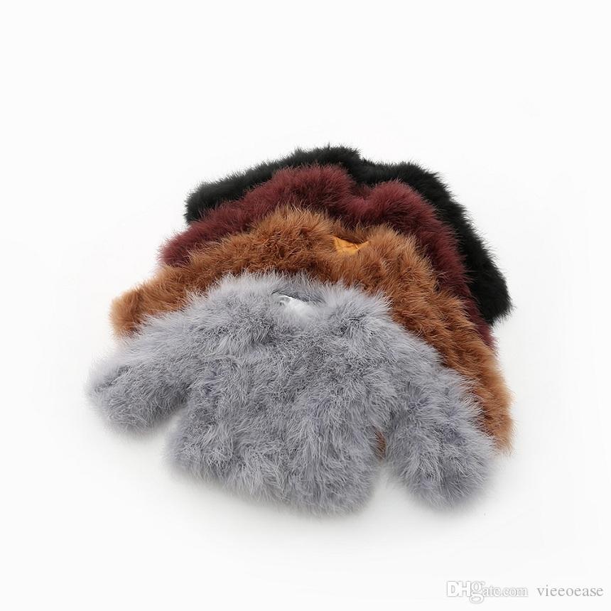 Vieeoease Girls Coat Christmas Fur Kids Clothing 2018 Winter Korean Fashion Long Sleeve Ostrich Coat EE-1245