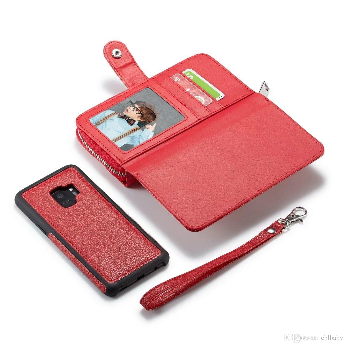 For Samsung S6 S7 Edge S8 Detachable Leather Wallet Case Removable Purse Pouch Flip Card Back Cover Zipper Cell Phone Soft Gel Cases
