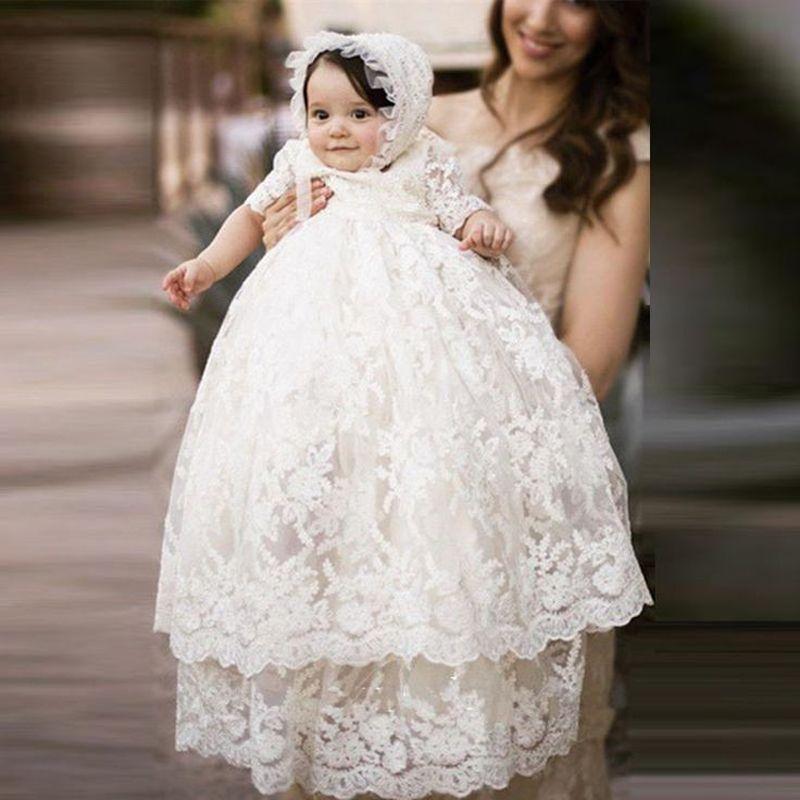 Compre Venta Caliente Bebé Largo Marfil Vestido De Bautizo Encaje Nuevo Cumpleaños Bebé Vestido Bebé Niña Vestidos De Bautizo Vestidos De Bautizo A