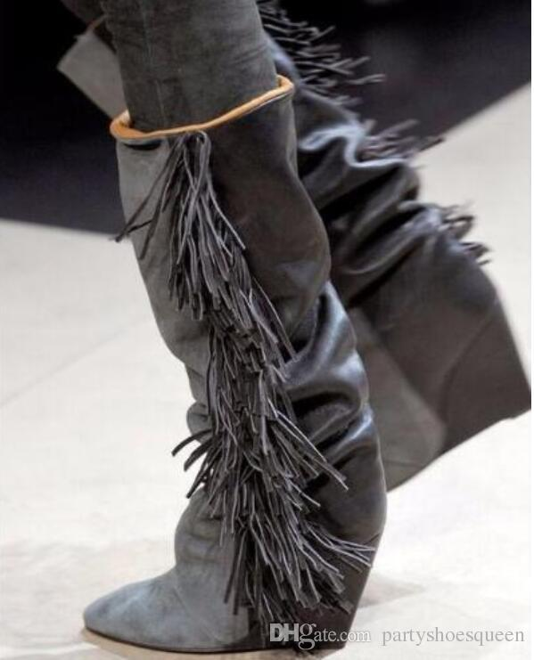 2018 новых женщин колено высокие пинетки кисточкой сапоги замши лоскутное Гладиатор пинетки клинья пятки точка toe бахрома бота