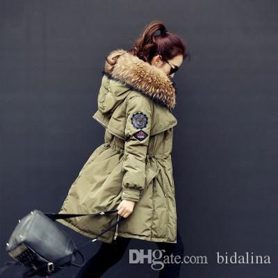 Hooded Parkas Women Natural Real Raccoon Fur 2017 Winter Womens Jackets And Coats White Duck Down Jacket Thicken Parka Outwear Army Green