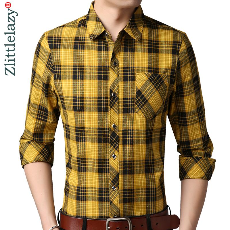 2018 social long sleeve plaid designer shirts men slim fit fashions package men's shirt man dress jersey casual clothing 36739