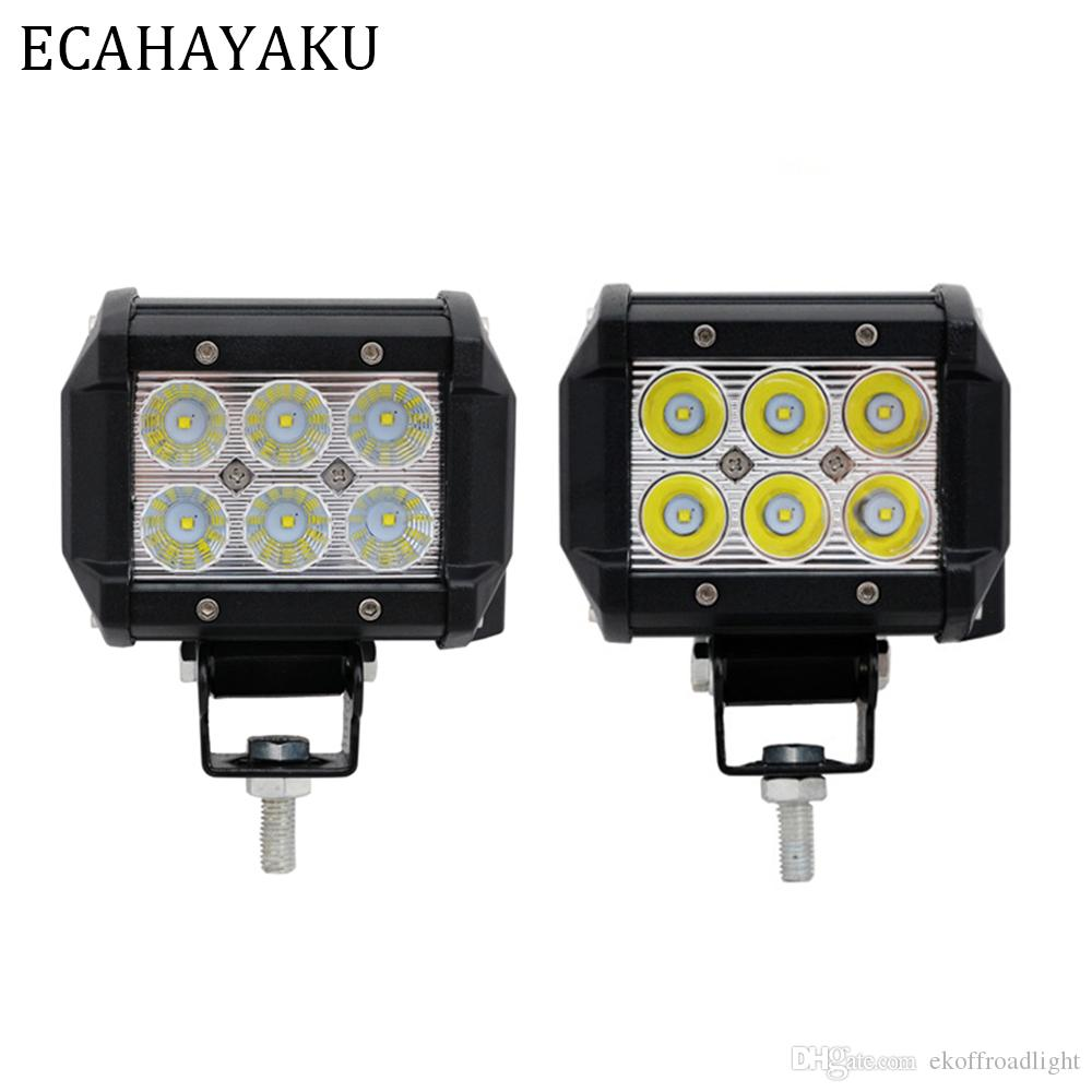ECAHAYAKU 2x 18W 4 inch LED Light Work Bar Flood Spot Beam 12V 24V Truck 4WD ATV SUV UTV Driving Working Fog lights