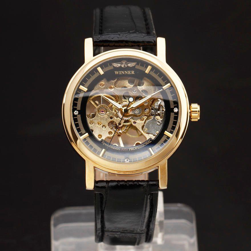 2018 WINNER Fashion Men Mechanical Hand-Wind Skeleton Dial Genuine Leather Strap Wrist Watch Classic Style Male Gift Clock Y1892103