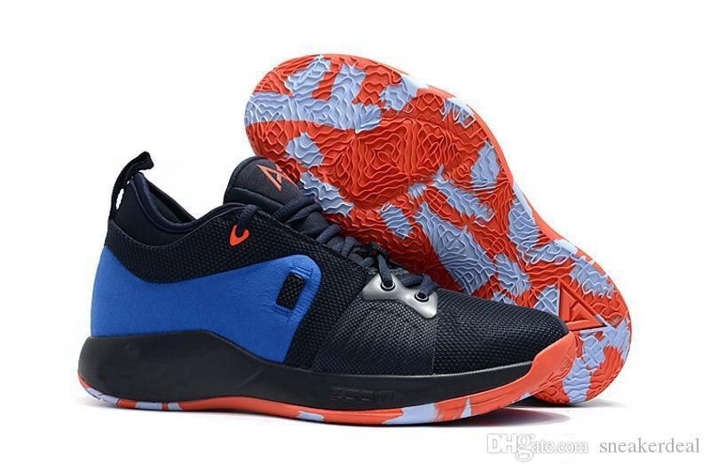 Paul George 2 PG II 플레이 스테이션 신발 최고 품질의 홈 열광적 인 황소 PG 2 별이 빛나는 푸른 오렌지 화이트 블랙 박스 포함