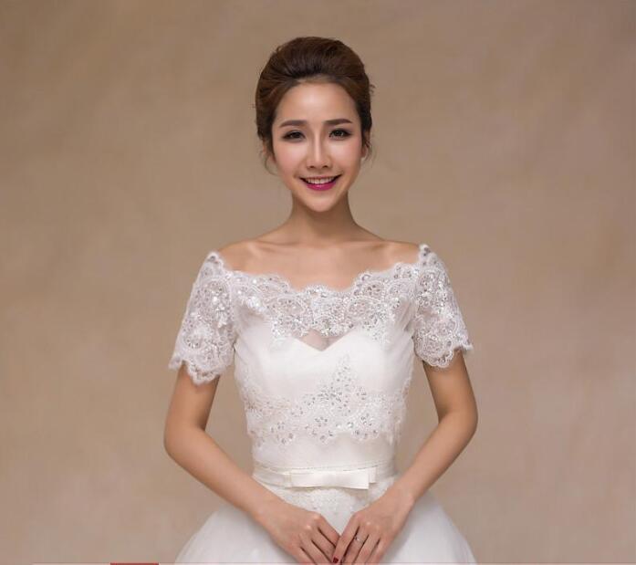 Elegant Ivory / Red Bridal Lace Bolero Sparkling Cape Fashion Bridal Jacket Summer Shrug Women Shawls Wedding Accessorie