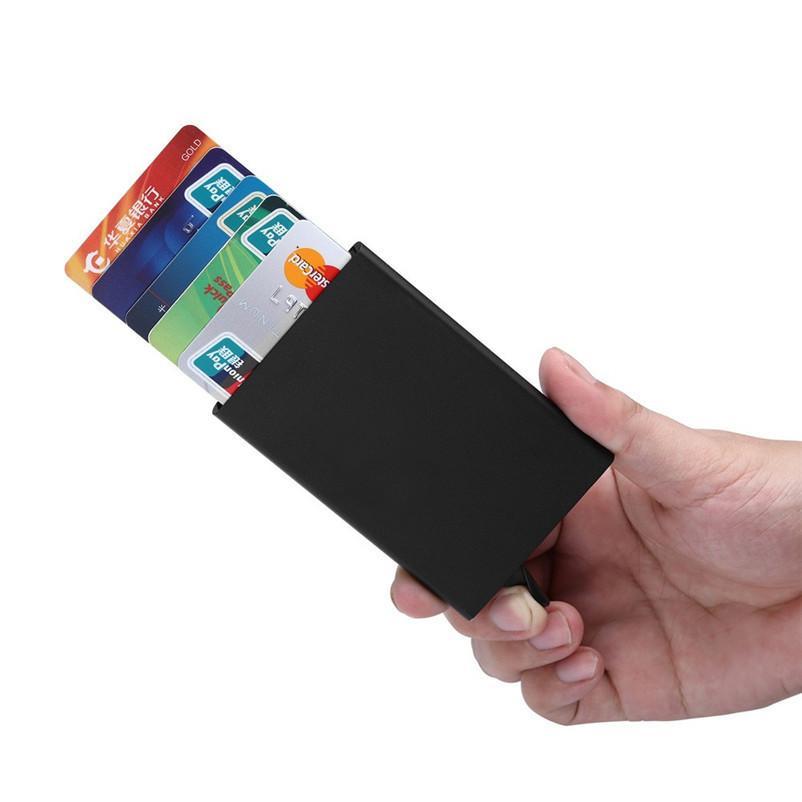 جديد الموضة البنك بطاقة الائتمان حزمة حامل بطاقة الأعمال حالة هدية مربع بطاقة سبائك الألومنيوم بورت كارت bancaire c662