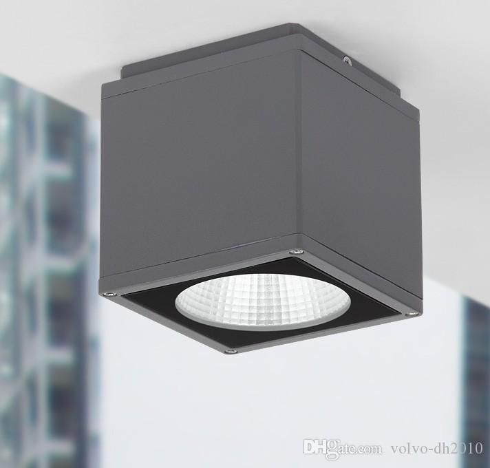Outdoor LED Ceiling light Surface mounted lighting Square led for bathroom,balcony,stair way grey fitting warm white LLFA