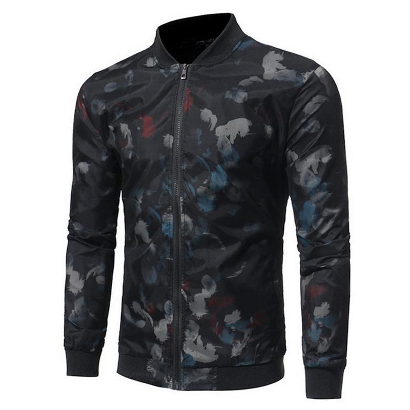 NIBESSER erkek 2018 Sonbahar Çiçek Bombacı ceket erkekler Hip Hop Slim Fit çiçekler ceket ceket erkek moda standı ceketler artı boyutu