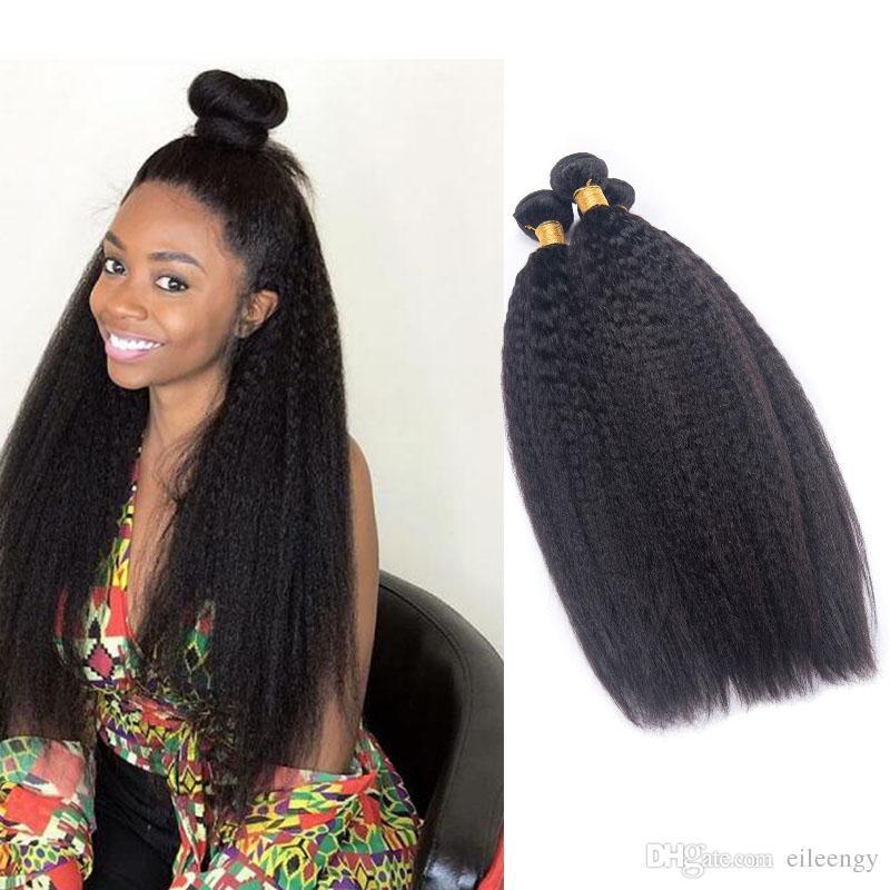 Brésilienne Vierge Cheveux 3 Bundles Malaisienne Péruvienne Indien Cheveux Humains crépus Droite 3 Pièces / lot Cheveux Tisse Double Trames