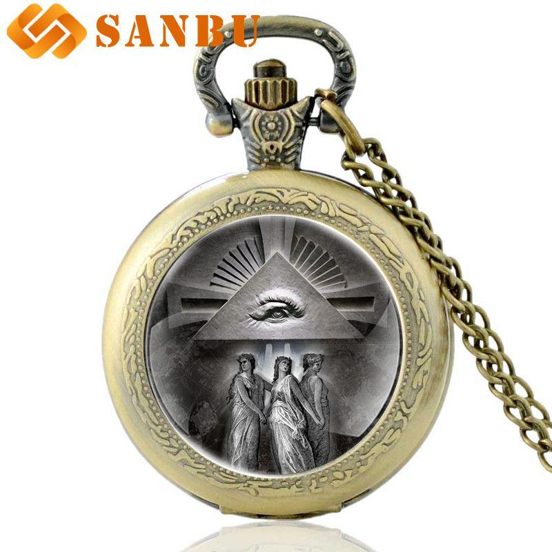 Vintage Gümüş Masonik Kuvars Pocket Watch Retro Erkekler Kadınlar Providence Kolye Kolye Antik Takı
