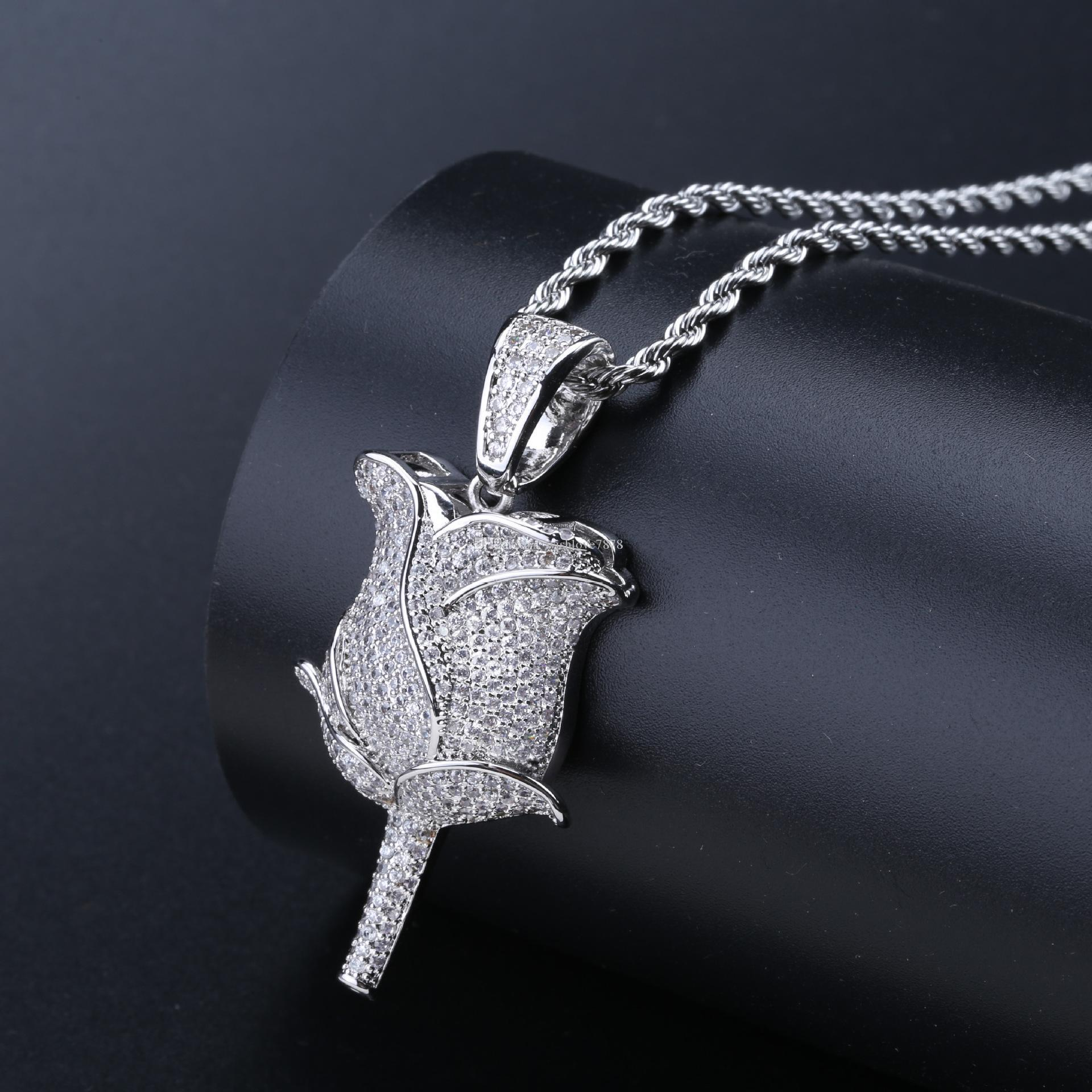 New Rose Flower Petals Necklace Pendant Gold Silver Rosegold Iced Out Cubic Zircon Bling Men Hip Hop Jewelry