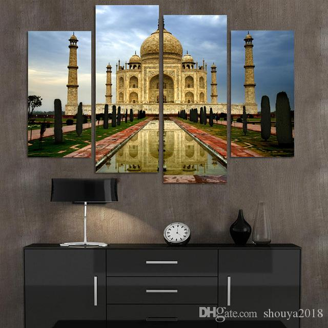 Free shipping No Frame 4 Piece Modern Home Decor Canvas Painting Taj Mahal Building Pictures Decorative Paintings Wall Art Printed on Canvas