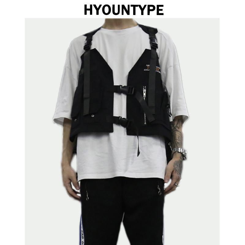 Moda Hip Hop Kolsuz Yelekler Erkekler Kargo Yelek Cepler Ceket 2018 ile Yeni Streetwear Taktik Yelek Tişörtü