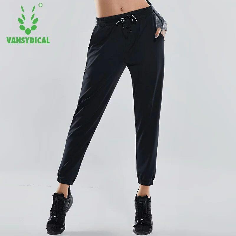 Pantaloni a vita elastica donne che gestiscono Pantaloni di tuta traspirante Formazione pantaloni femminili autunno allentato Esercizio Sport Yoga Trous