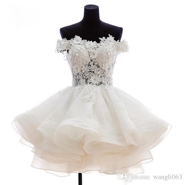 Fuera del hombro de encaje corto vestidos de fiesta de baile sexy mini abalorios apliques de tul fiesta de bienvenida cócteles vestidos