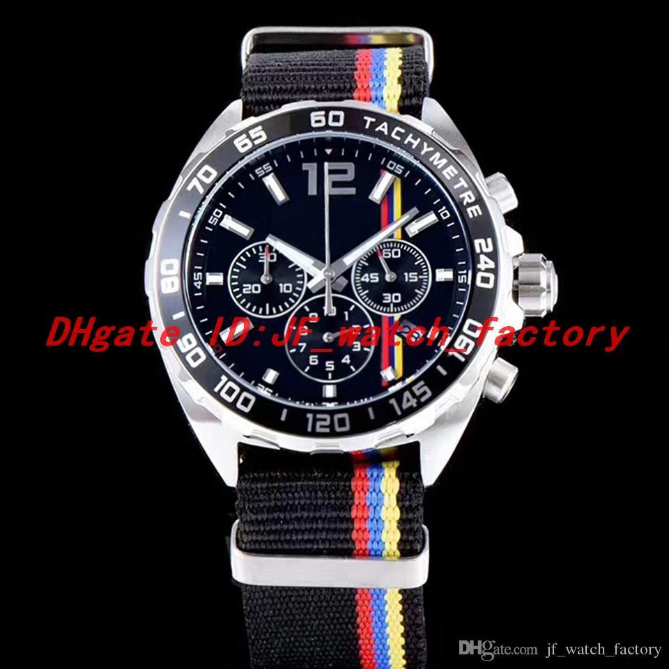 NOVO quartzo movimento do relógio Mens Nylon pulseira caixa de aço Chronograph Strap Rubber