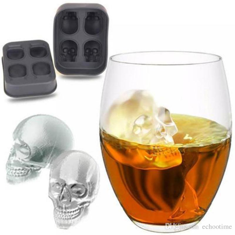 Echootime New Fashion Silicone Bones Skull Ice Cube Mold Kitchen Chocolate Tray Silicone Cake Candy Mold Cooking Tools Top Quality