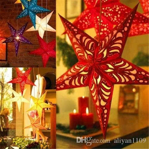 Christmas Decoration Ceiling Stereoscopic Laser Pentacle Paper Star Ornaments