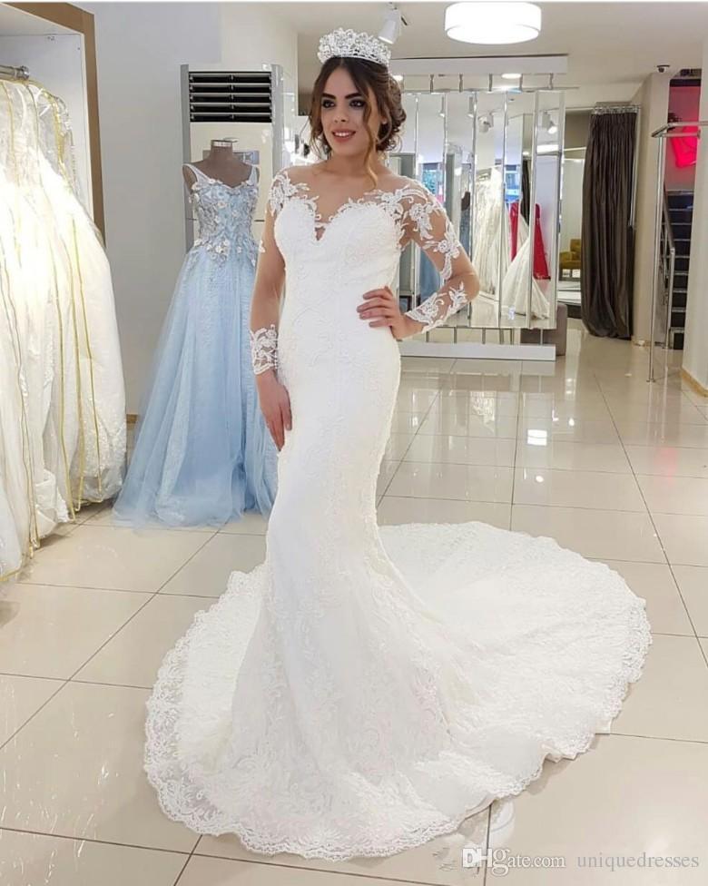 Nuovi Abiti da sposa della sirena del merletto del nuovo arrivo 2018 sexy scollo a V sheer manica lunga appliques abito da sposa abiti da sposa abiti da sposa