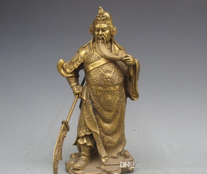China Cobre puro bronce Guan Gong Guan Yu Guerrero Dios Wu Fortuna Estatua