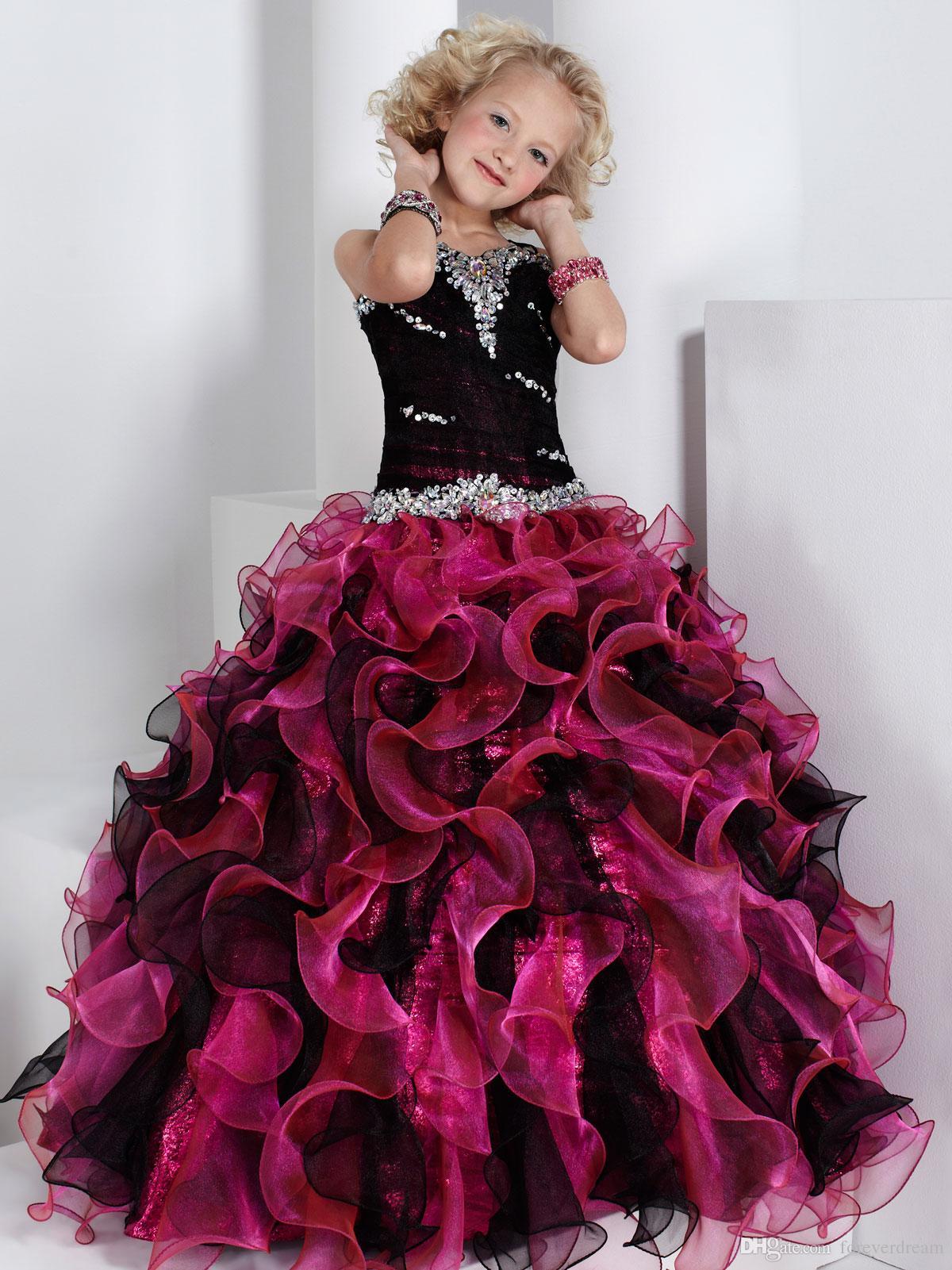 Precioso fucsia / correas negras Organza Beads Flower Girl Vestidos Pago de niñas Vestidos Cumpleaños / Vacaciones Vestidos Tamaño personalizado 2-14 FD8140276