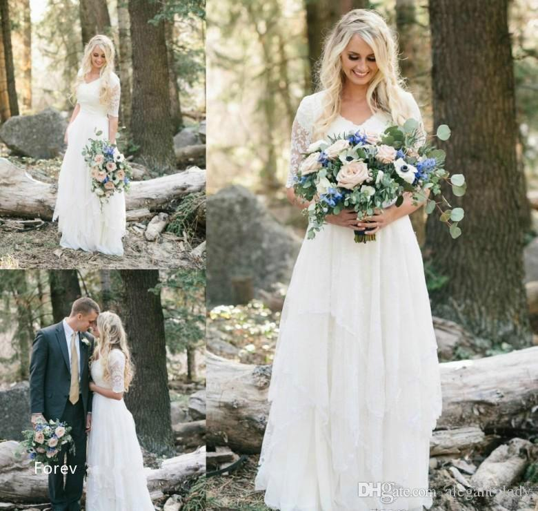 2018 Cheap Western Country Bohemian Forest Wedding Dress Lace Chiffon V Neck Boho Garden Country Bridal Gown with sleeves Plus Size