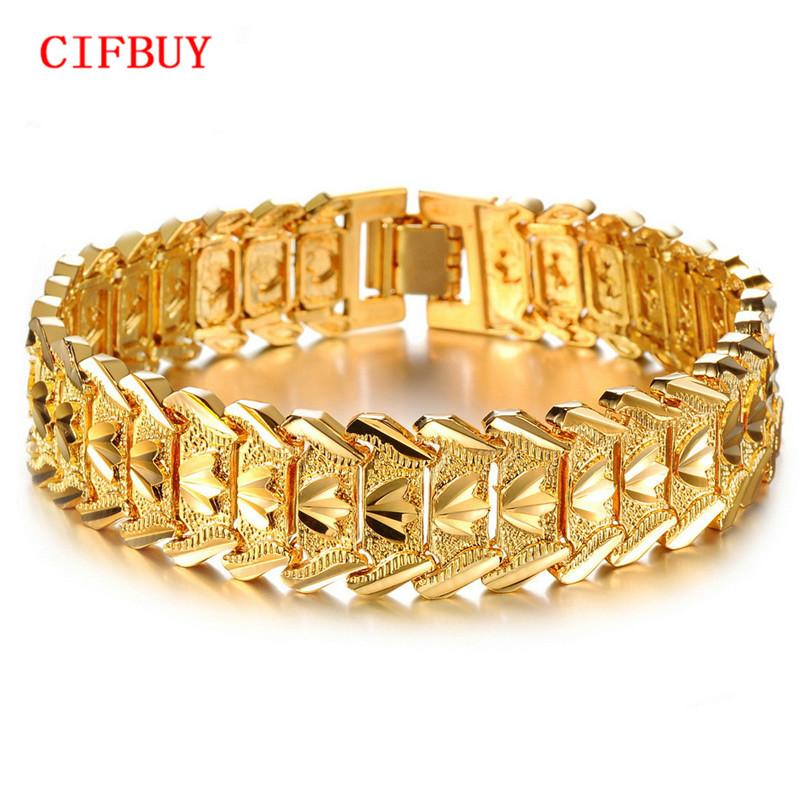 CIFBUY Bracelets couleur or pour les hommes femmes Bijoux en gros Vintage Hot mode grande fleur Bracelets Bangles 401