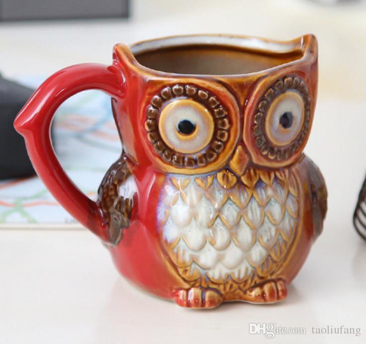 3D Animal Creative Cute Owl Mugs 300ml Cartoon Coffee Mug Ceramic Milk Tea Cups