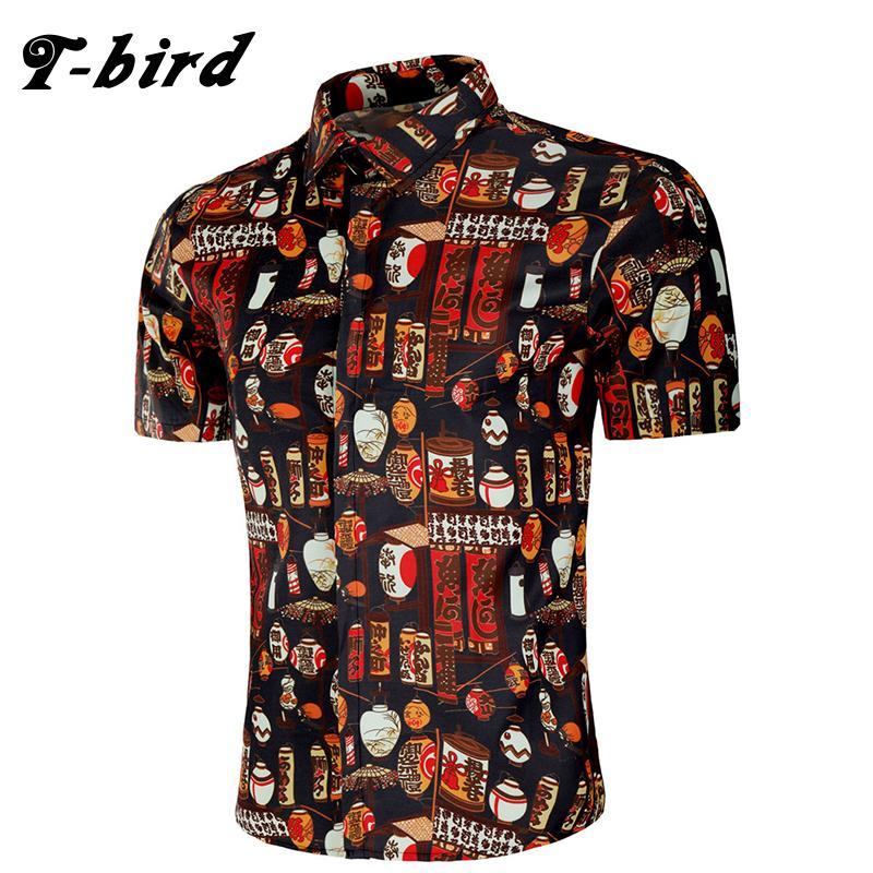 T-Bird Brand 2018 Men Shirt Creative Print Dress Shirt Short Sleeve Fashion Clothes Casual Male Hawaiian Shirts European Size