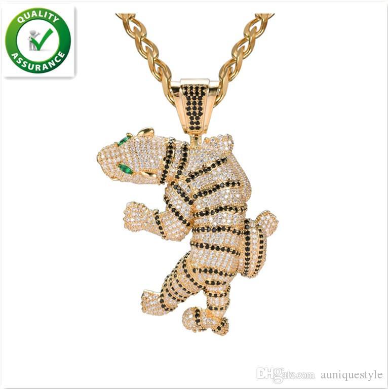 Ciondolo Iced Out gioielli firmati Hip Hop Ciondoli tigre feroce esagerati Animal 3D Full Diamond CZ Agata Occhio con catena Fashion Zodiac