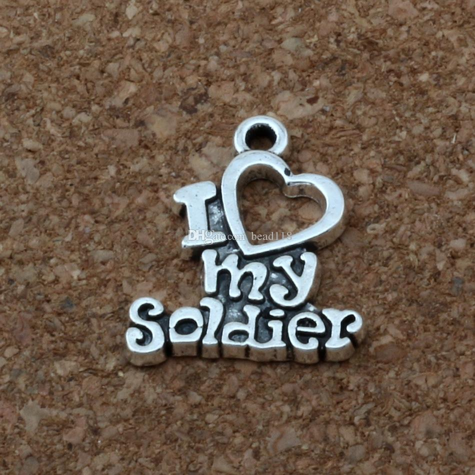 """"""" I love my soldier """" Charm Pendants 200Pcs/lot Hot sell Antique Silver Jewelry DIY 17 x 20mm A-174"""
