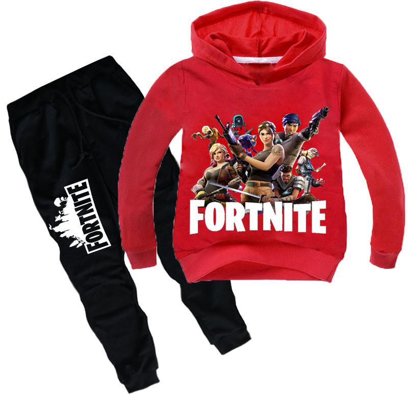 2019 Game Fortnite Hoodies Suits Kids Children Battle Royale Sweatshirt  Tracksuit Sets Long Sleeve T Shirt Sweater + Sports Pants Gifts From