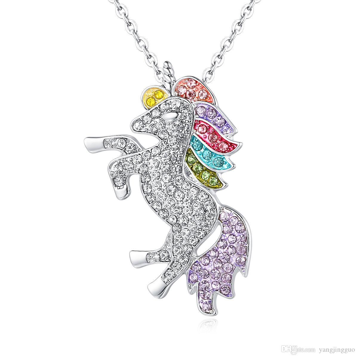 Nueva Declaración Original Esmalte Caballo Unicornio Colgantes Del Collar Con Efecto Especular Collar de Cadena Accesorios de La Joyería Para Las Mujeres