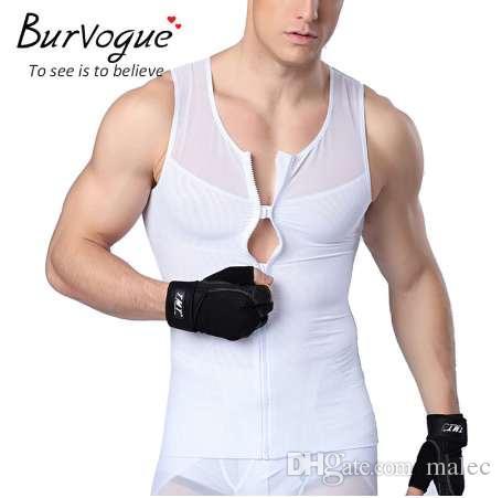 Burvogue hombres chaleco con cremallera cuerpo shaper chaleco fajas adelgaza la cintura cinturón de control shaper chaleco correctivo de la ropa interior para el hombre