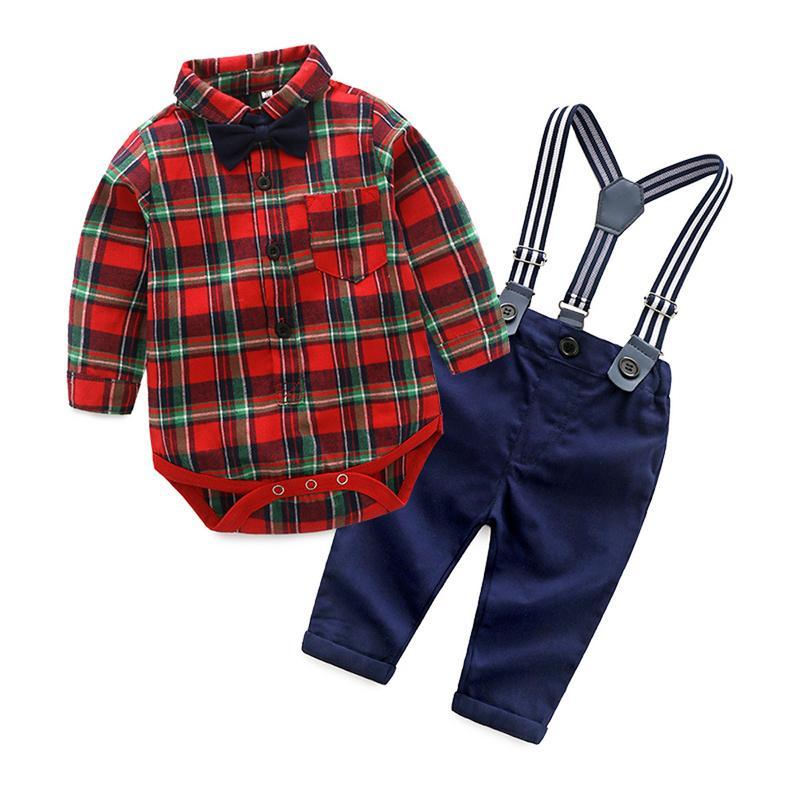 2020 moda baby boy conjuntos de roupas cavalheiro bodysuits xadrez + calça + laço terno luva longa crianças menino conjuntos de crianças